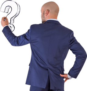 Businessman on transparent background drawing a question mark.