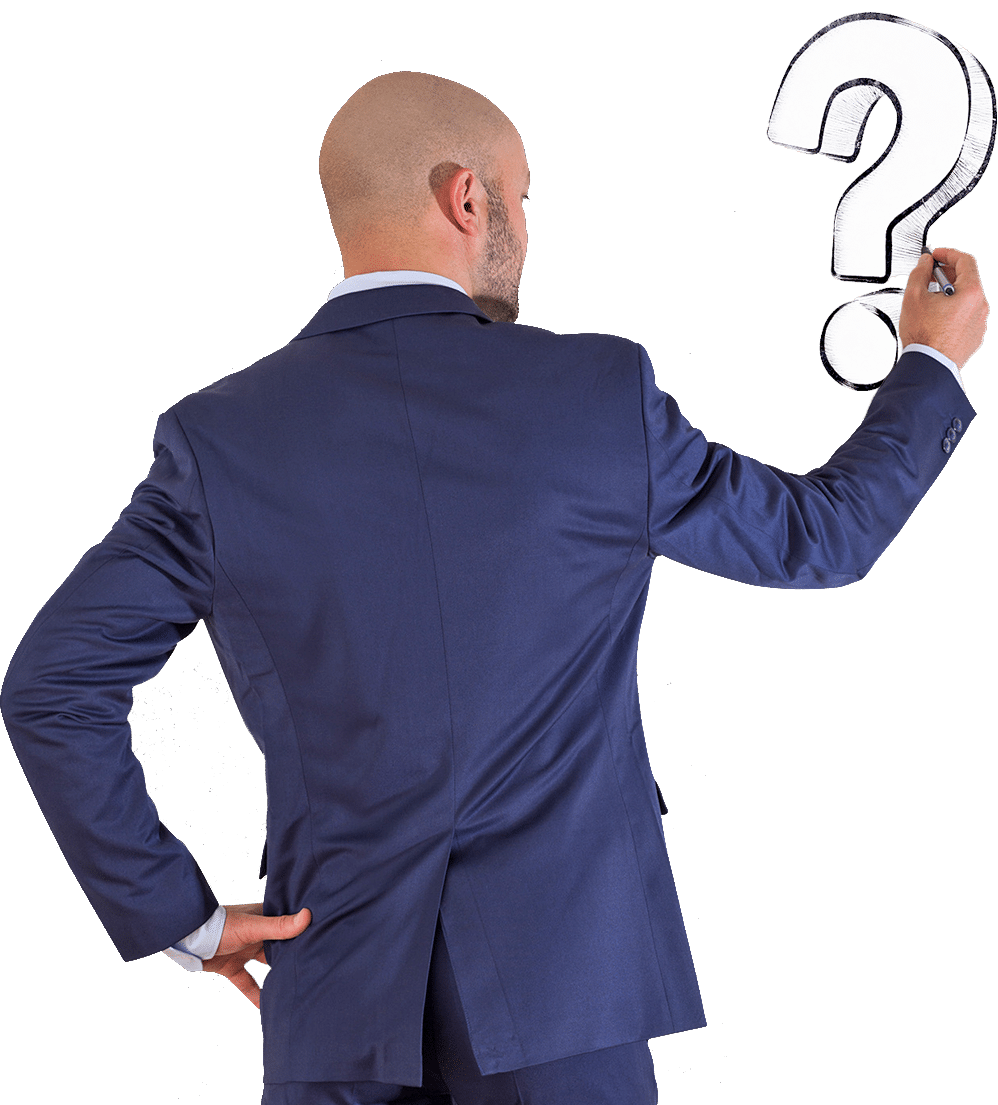 Businessman drawing question mark, isolated on transparent background.